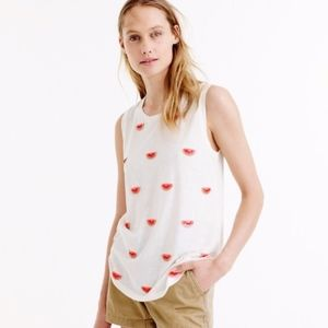 J. Crew Embellished Watermelon Tank